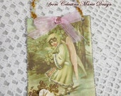 Victorian Vintage Graphic Skating Angel Tag, Gift Tag, Ornament, Card Filler, Hand Created, Collectible, ECS