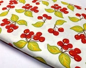 Farmers Market Michael Miller Cherries on Cream Cherry Fabric Leaves Fruit Outdoors Retro County Farm Kitchen Towels Yummy Food Quilting