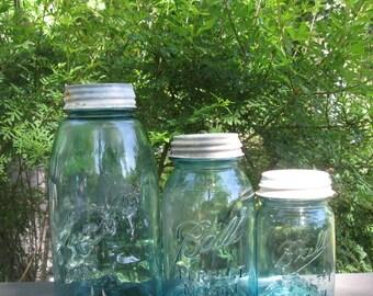 Three Vintage  Blue Canning Jars - Ball Mason Jars - Set of Three