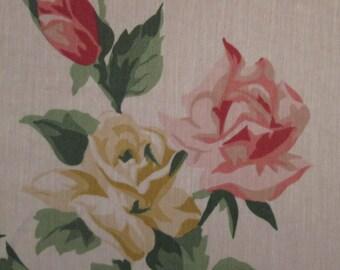 Six Vintage Napkins - Cotton Blend Napkins - Pink and Gold Roses