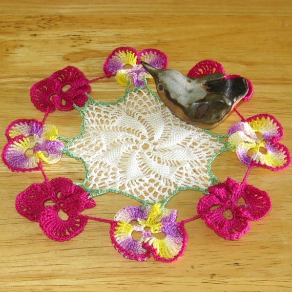 Pansy Flower Lace Doily - Crochet Lace Decor, Colorful Art Crochet, Shabby Chic Decor, Country Home Decor - Delicate - Small 6 Inch Diameter