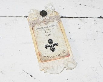 Rustic Handmade Paris Tag~Fleur de Lis~Embellished w/Vintage Button~Old Lace~Gift Tag Package Adornment