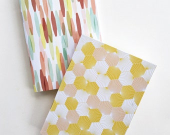 Stardust Notebooks Set of 2.  Avril Loreti Exclusive Prints. Fun, Bright, Bold prints. Great for Birthdays and Holidays.