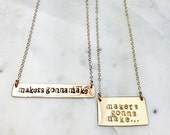 Makers gonna make bar rose gold silver necklace