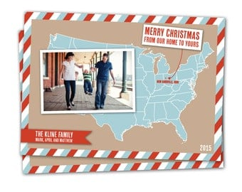 US Map Christmas card, moving announcement, we've moved, Merry Christmas from our home to yours, Christmas photo card