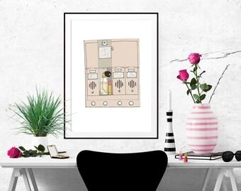 Holly Golightly's Mailbox Decorative Illustration Art Poster