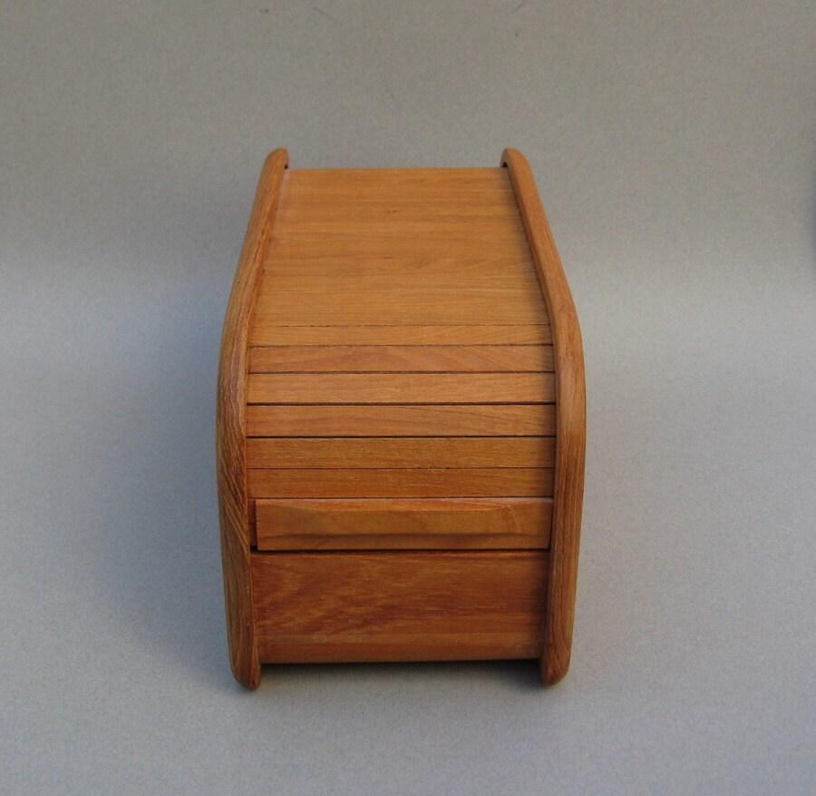 Modern Teak Tambour Box Kalmar Designs Roll Top Teak Box