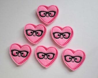 Medium Pink Nerd Heart Felt Embroidered Applique - Embellishment - 321