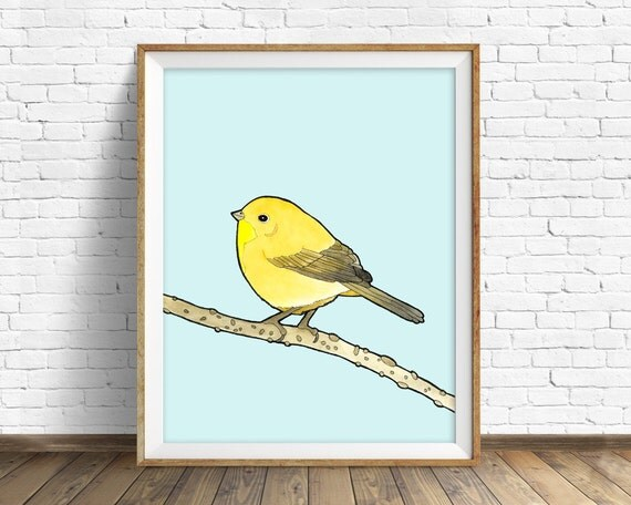 Common Yellowthroat - bird, drawing, watercolor, yellow, blue, art print, wall art print, large wall art, animal art print, woodland, art