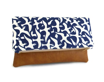 Featured in Refinery29 and Organic Beauty Talk - Iman Designer Print - Foldover Clutch