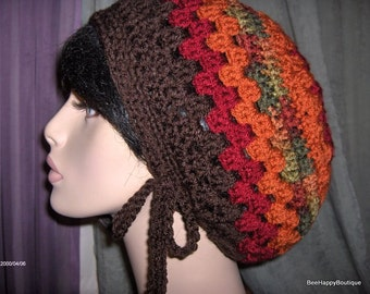 Slouchy Hat Mens Womens Brown Red Rasta Dreads Slouchy Hat Dreadlocks Slouchy