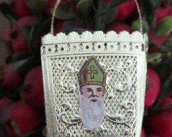 Vintage Gold Paper Dresden Basket Ornament with Antique German Bishop Santa Paper Scrap Handmade Piece