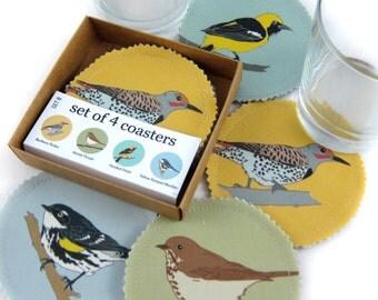 Wild Bird Fabric Coaster Set--California Hills Birds