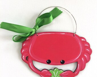 Crab ocean ornament - ocean theme ornament - personalized painted ornament - red crab - handmade ornament - vacation ornament - wood