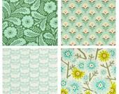 4 FAT QUARTERS - Clementine - FreeSpirit Fabric - Heather Bailey - Bundle - Green Flowers Leaves