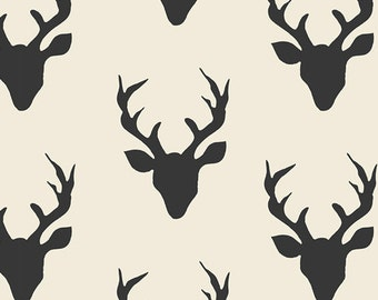 Buck Forest Night - Hello Bear - Art Gallery Fabrics - Bonnie Christine - HBR-5434 Deer Silhouette Silo Antlers