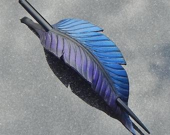 Fantasy Raven Feather Hair Slide In Purple, Indigo, and Black - Leather Hair Stick or Shawl Pin - Medium
