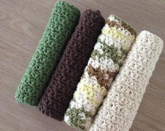 Cotton crochet dishcloth, cotton washcloth, cotton dishrag, set of 4