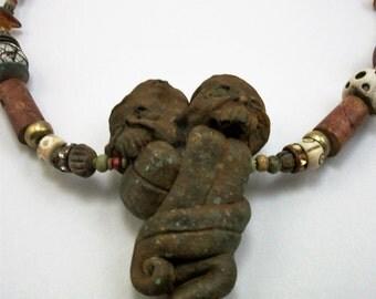 Patina Monster Heart, VooDoo, Amber, Horror Art Zombie Head Necklace