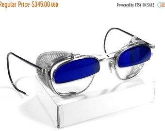 Steampunk Goggles Vintage Rare AMERICAN OPTICAL Steam Punk Glasses COBALT Blue Flip-Up 1/2 Glass Mesh Side Shields - Steampunk by edmdesigns