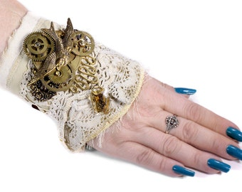 Steampunk BRIDAL Cuff Leather Taupe Lace, Victorian Bird Brass PLAQUE Gear Coil Crystal Part Wedding Cuff - Steampunk Clothing by edmdesigns