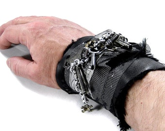 Steampunk Textile Cuff Mens Black LEATHER Winding Clock Keys Chains BURNING MAN Cuff Rocker Biker Punk - Steampunk Clothing by edmdesigns