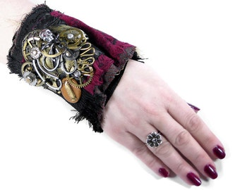 Steampunk Textile Cuff Wrist Cuff Black Leather Red Velvet UNIQUE Brass Gear Coils Skull ROCKER Punk Cuff - Steampunk Clothing by edmdesigns