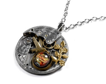 Steampunk Jewelry Necklace ELGIN Pocket Watch Gold Floral Leaf Bird Multi COLOR Cab Womens Girlfriend Holiday Gift - Jewelry by edmdesigns