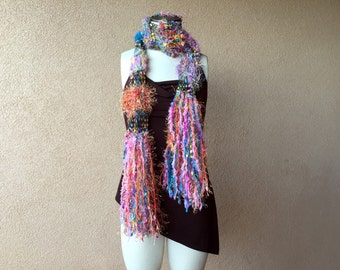 Long Scarf Spring Women's Bright Scarf Accessories Scarf in Teal, Pink, Aqua Orange Multicolor Girls Scarf
