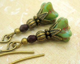 Rustic Flower Earrings with Green -ish Turquoise Glass and Deep Red Glass Beads