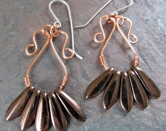 Oval Copper Wire Earrings with Bronze Czech Dagger Beads on Sterling Ear Wires