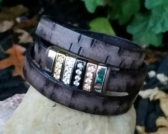 Leather Wrap Bracelet Flat Bark Leather Grey Triple Wrap Cuff Bracelet with CZ Spacers and Magnetic Clasp