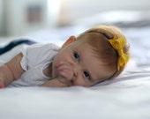 Mini Felt Mustard Bow Headband // Skinny navy elastic // Felt Bow // Mustard Bow // Photo Prop // Baby Headband // Mini Bow // Skinny
