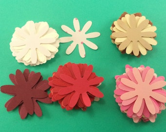 Hand-Punched Paper Flowers, Cardstock Flowers, Paper Daisies, Scrapbook Embellishments, Card Making Supplies, Decoration Supplies