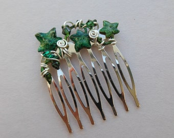 Small Green Ivy Leaves Hair Comb -- Ivy Vine, Swarovski Crystals, Silver Comb, Silver Wire wrapped, Wedding Hair Accessory, Elven Jewels