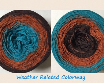 Weather Related 3-ply tied cotton gradient yarn as seen in Giggle with a Jiggle