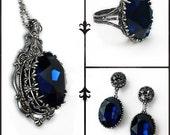Dark Blue Jewelry Set Dark Indigo Swarovski Necklace Earrings Ring Oxidized Silver Gothic Jewelry Set