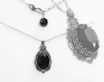 Gothic Necklace Gothic Jewelry Silver Filigree Necklace Black Swarovski Necklace Vintage Style  holiday gift girlfriend