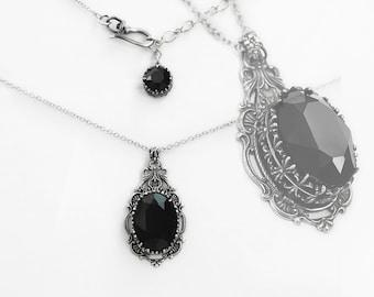 Black Swarovski Necklace Vintage Style Silver Filigree Necklace Victorian  Jewelry holiday gift girlfriend