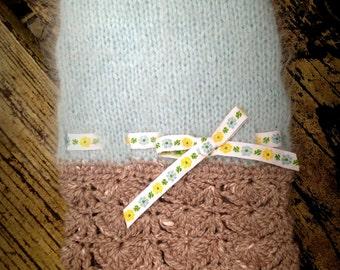 "NEST ""Sky"" Angora Dog Sweater Dress -- Hand Knit -- OOAK with Trims from Paris!"