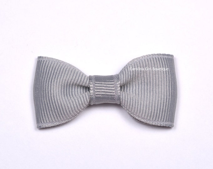 Millenium Silver Baby Hair Bow ~ 2 in. Bows with No Slip Grip ~ Small Hair Bows Newborns Toddler Girls