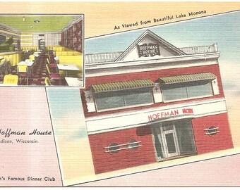 Hoffman House Madison, WI - Lake Monona  Vintage 20's -40's Linen Postcard