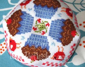 Cupcake Biscornu Cross Stitch Pattern