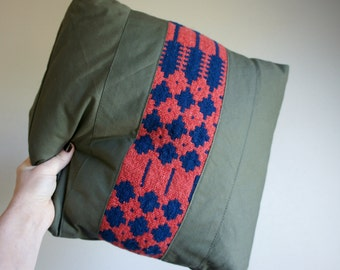 SAMPLE///Vintage Military Canvas and Primitive Textile Pillow