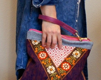 Vintage Wool, Bohemian Jacquard, and Leather Pouch with Clip on Wrist Strap//Reversible