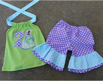 Princess Tiana Outfit, Princess Tiana Birthday Girl Outfit, Princess Tiana Short & Halter Top