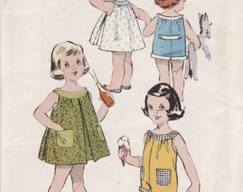 1950s Toddlers Playsuit or Sleeveless Dress Advance 8965 Vintage Sewing Pattern Size 2 UNCUT No Envelope