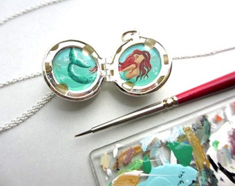 Custom Mermaid Painting in Sterling Silver-Plated Locket Ball, Tiny Personalized Art