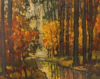 Autumn Day  Color - Giclee Fine Art PRINT of Original Painting matted 12x12 by Jan Schmuckal