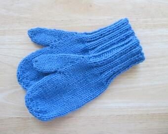 Child Medium Mittens Wool Hand Knit Boy Blue Heather